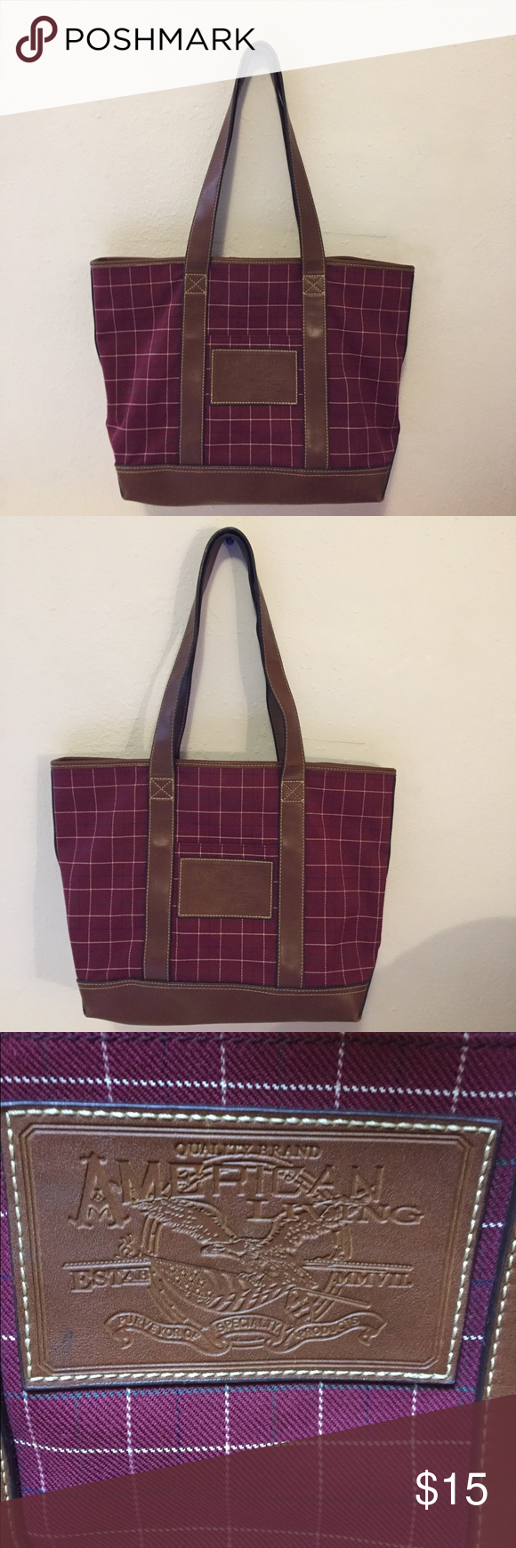 American Living Purse 12 X17 Inch Burgundy And Multi Color Bags Shoulder