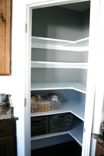 Best Pantry Makeover Gray Background White Shelving 400 x 300