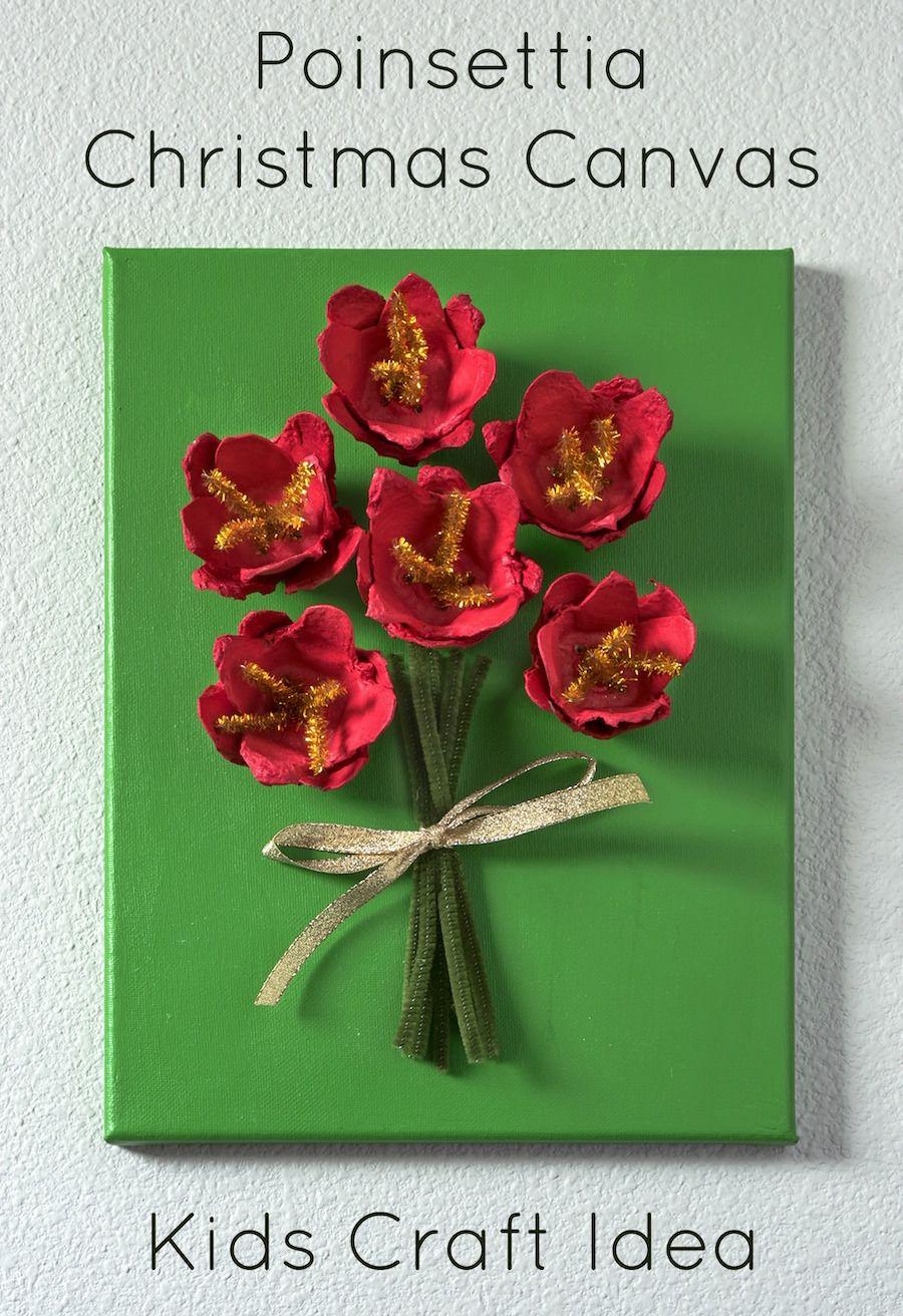 Poinsettia Canvas Christmas Craft For Kids Diy Christmas Art