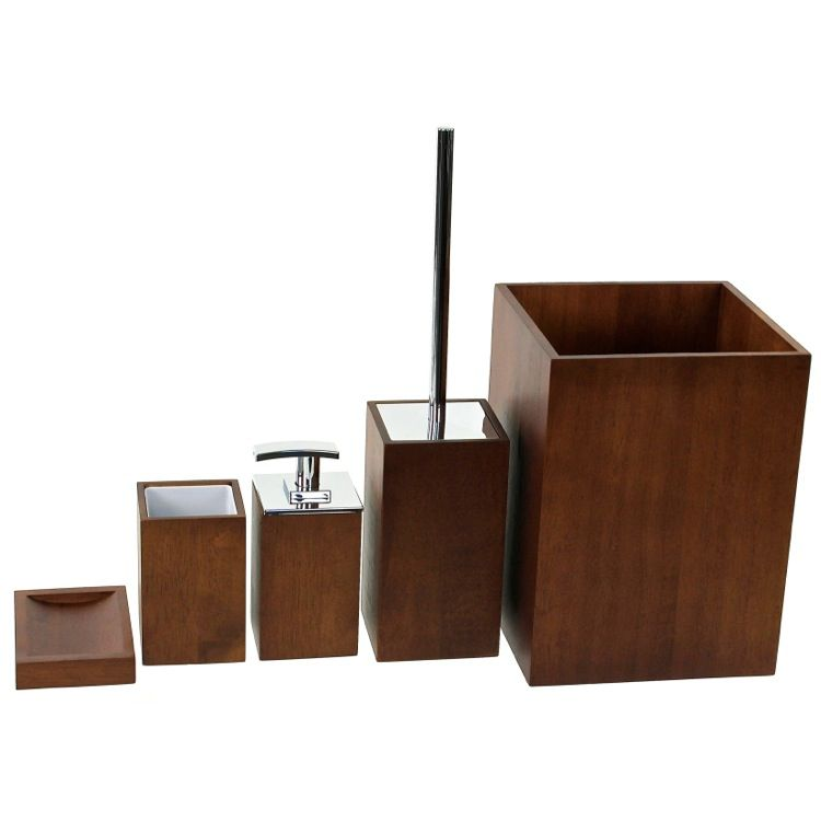 Bathroom Accessory Set Gedy Pa900 31 Wooden 5 Piece Brown