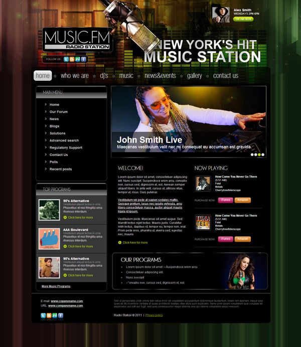 Music FM Radio Station Joomla Template by Dynamic Template | Joomla ...