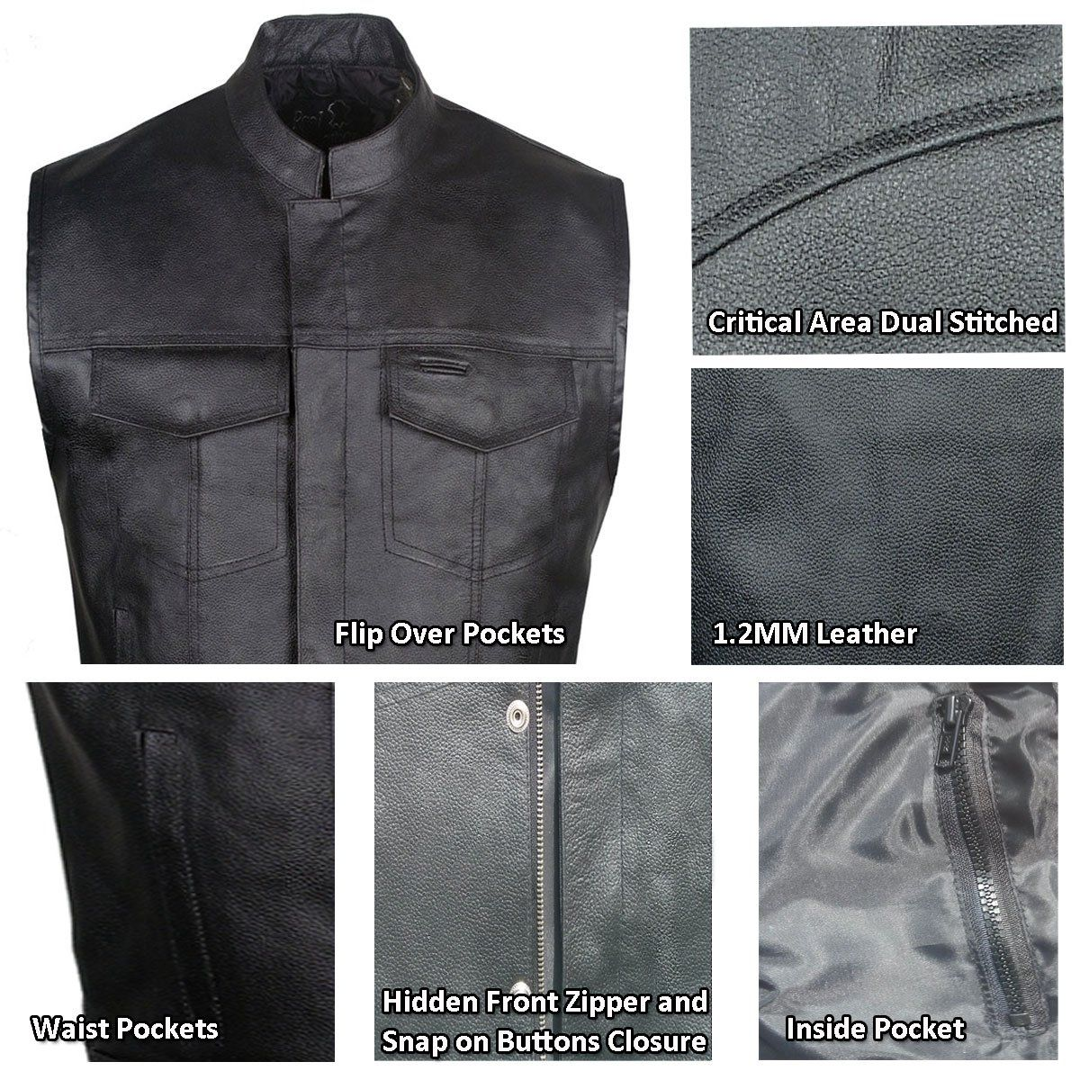 SOA Men/'s Anarchy Motorcycle Biker Club Concealed Carry Outlaws Leather Vest