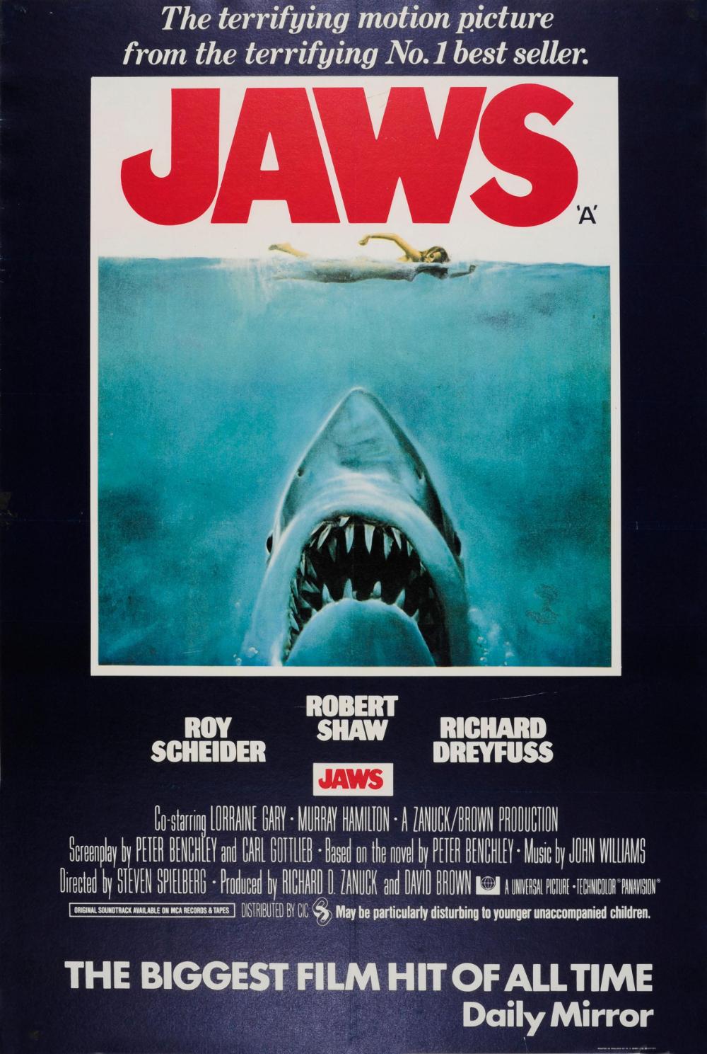 Roger Kastel Original Vintage Steven Spielberg Movie Poster Jaws Iconic Design Shark Swimmer In 2020 Jaws Movie Poster Jaws Movie Steven Spielberg Movies