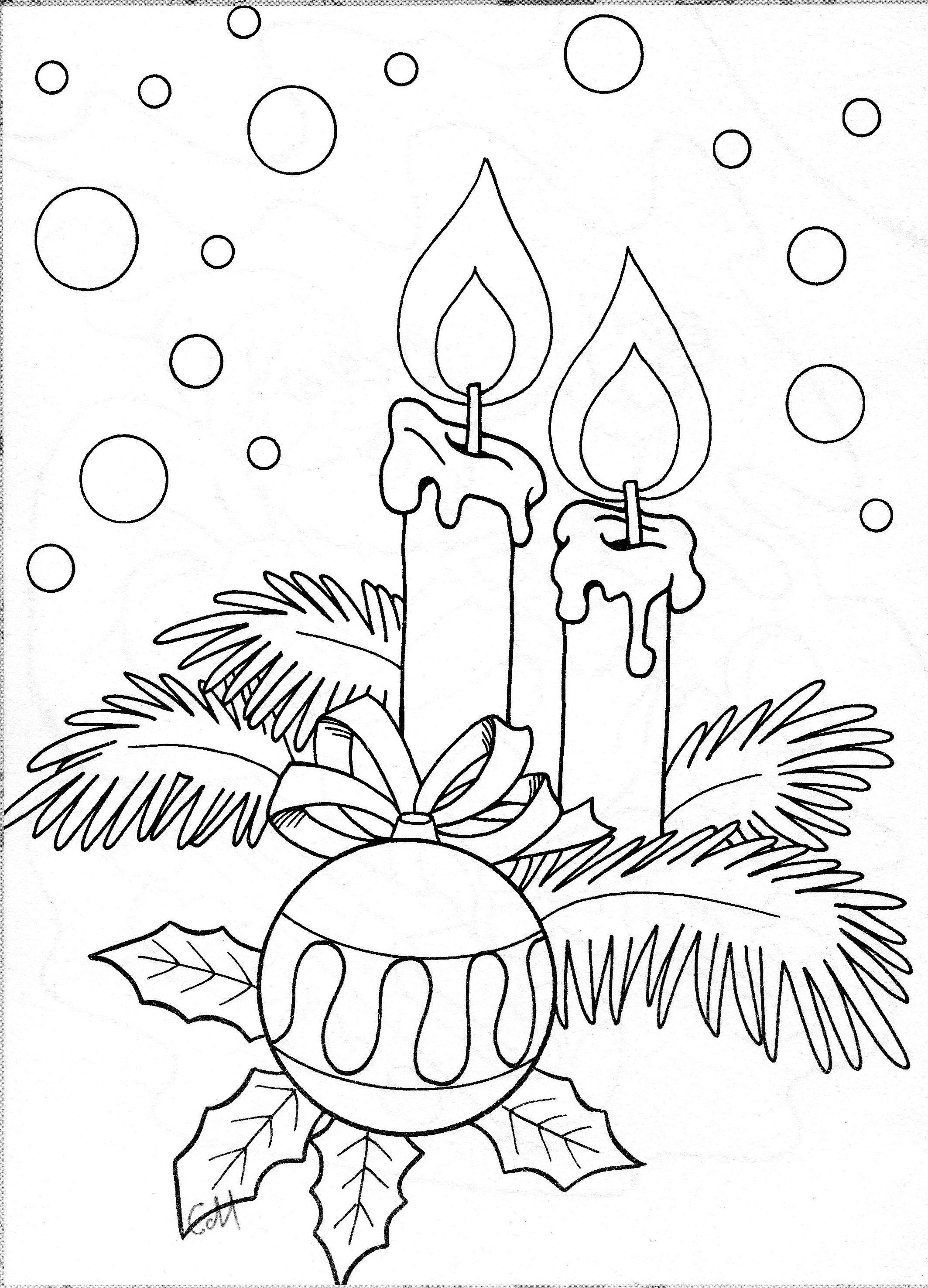 candles w ornament | windowcolor vorlagen | ausmalbilder