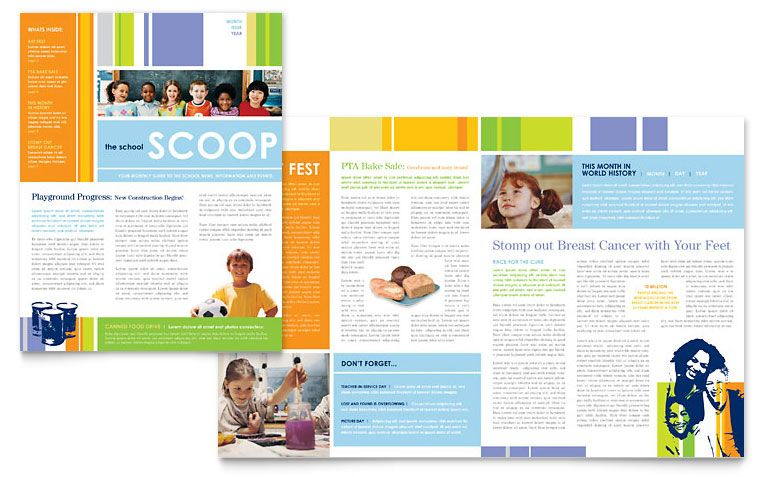 & Elementary School Newsletter - Word Template & Publisher ...