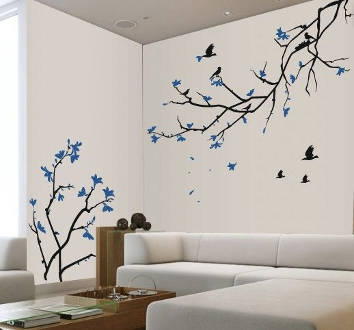 Cherry Blossom Wall Decal Blue Cherry Blossom Sakura Tree Room Wall Painting Wall Painting Decor Tree Wall Painting