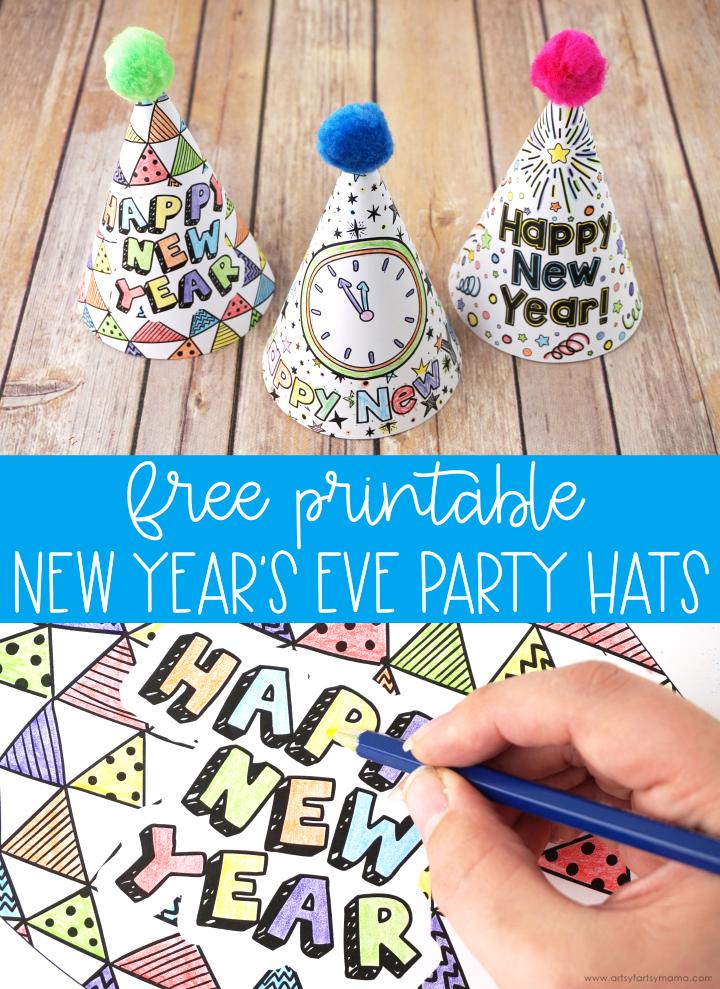 Free Printable New Year's Eve Party Hats #newyearseve #happynewyear #newyears #kidscrafts #kidsactivities #kidsactivity #coloring #freebies #freeprintable #partyhat #partyprintable