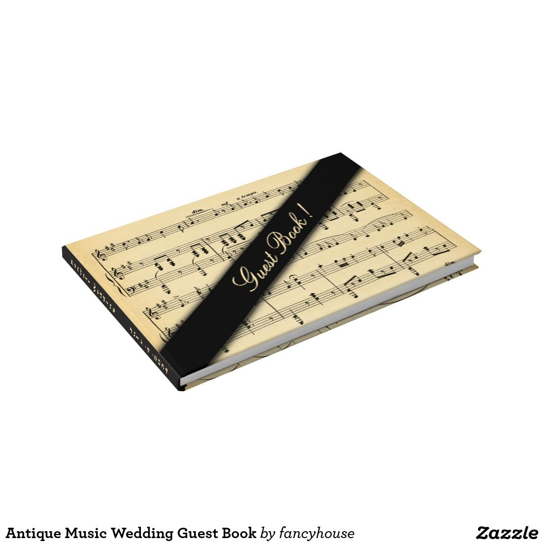 Antique Music Wedding Guest Book with matching Wedding Invitation Suite at https://www.zazzle.com/fancyhouse/products?dp=252825946313566181&cg=196471289711553268&rf=238207742997519561&tc=poly