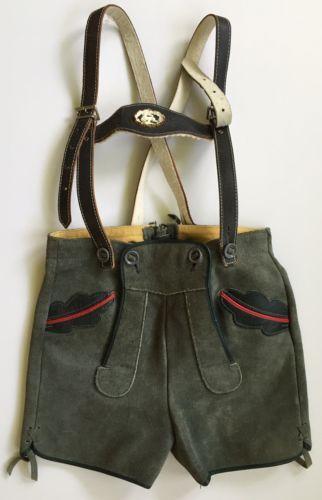 Lederhosen-Boys-Vintage-German-Suede-Shorts-Stag-Emblem-Green-Leather-Straps