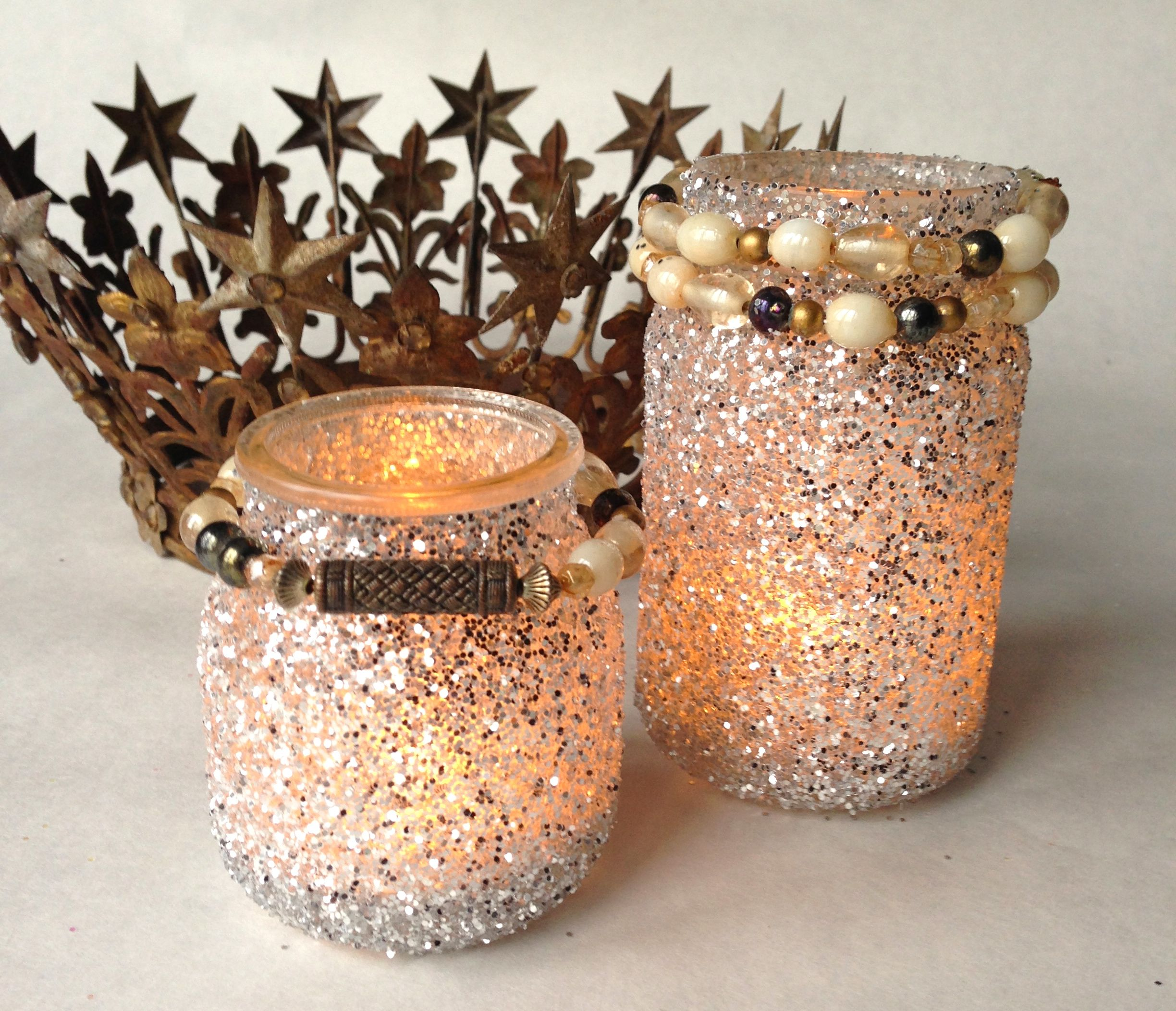 how to make glitter jars for candles