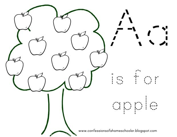 A is for apple coloring sheet learning time pinterest for Preschool apple coloring pages