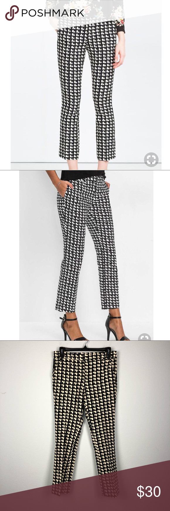 Zara Black And White Printed Crop Flare Trousers Zara Black And White Patterned Crop Flare Trouser Pants Zip Fly And Button Clo Cropped Flares Zara Black Zara