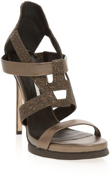991e50365ab Women s Brown Metallic Strappy Stiletto Shoes