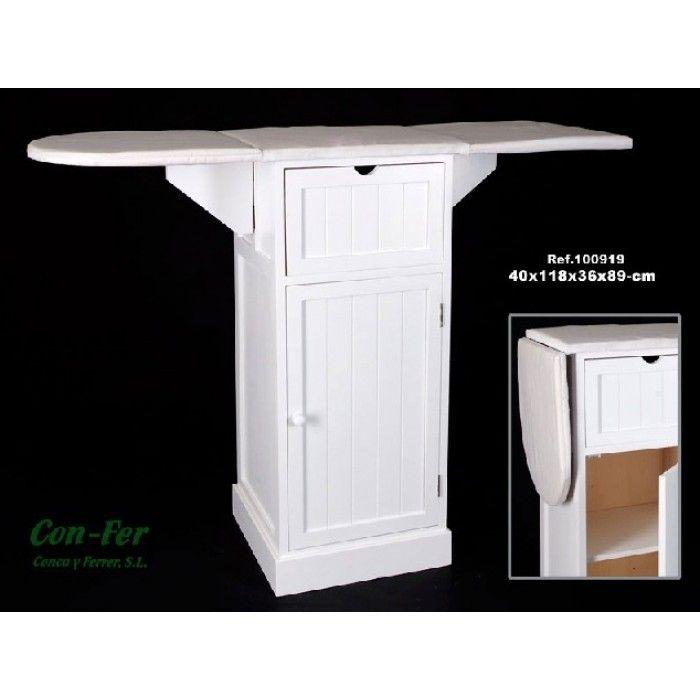 Mueble plancha madera blanco con armario y 1 caj n for Mueble planchador ikea