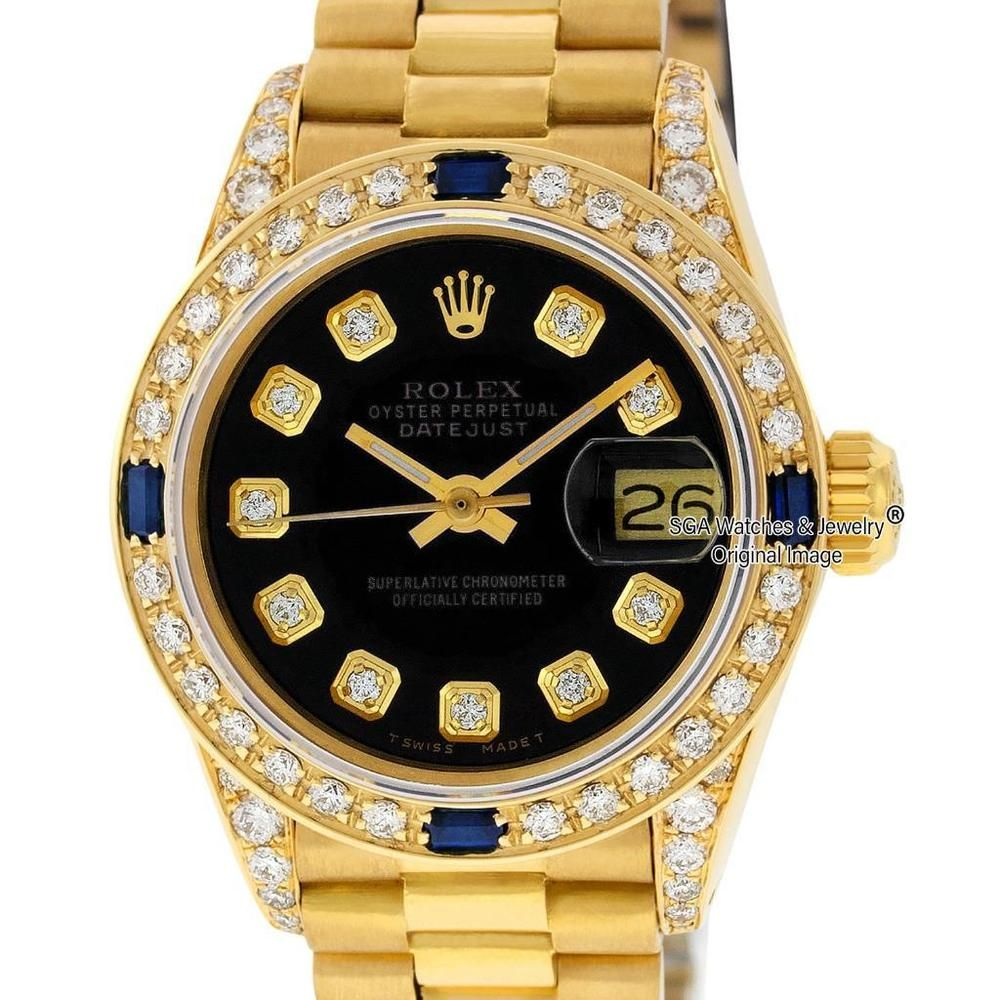 Rolex Ladies Datejust President Watch 18k Yellow Gold Black Diamond Dial Bezel Rolex Ladieswatches Wat Black Diamond Watch Rolex Watches Women Diamond Watch