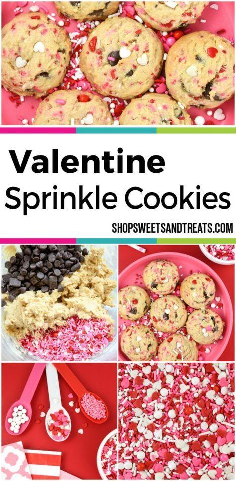 Valentine Sprinkle Chocolate Chip Cookies - Love Boat Sprinkles - Valentine Party Ideas