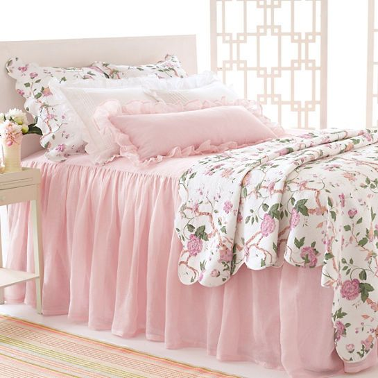 A Light As Air Beautifully Draped Linen Bedspread As Gracious As