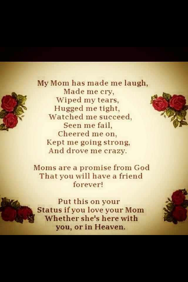 Love you mom! | Mom & Dad | Mom in heaven, Mother quotes