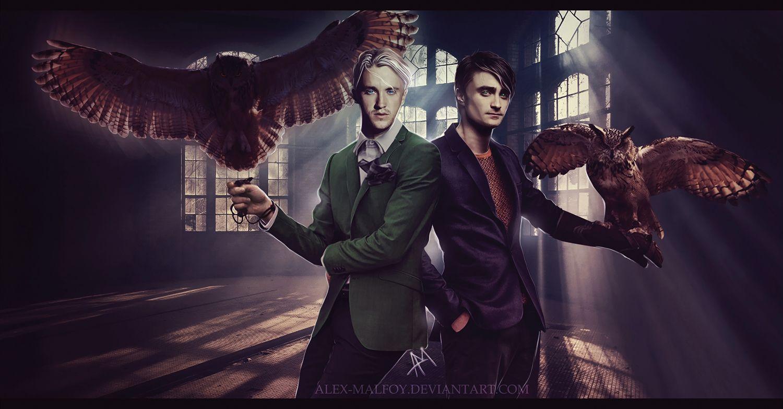 Harry Potter Harry Draco Owls By Alex Malfoy Deviantart Drarry Harry Draco Malfoy