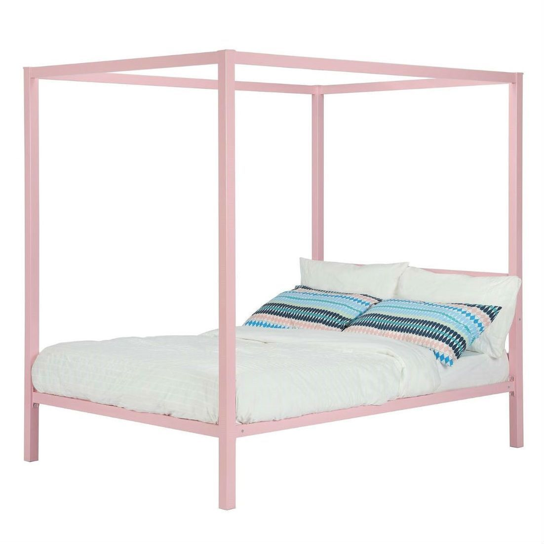 Twin Size Metal Platform Canopy Bed Frame In Pink Great For Kids