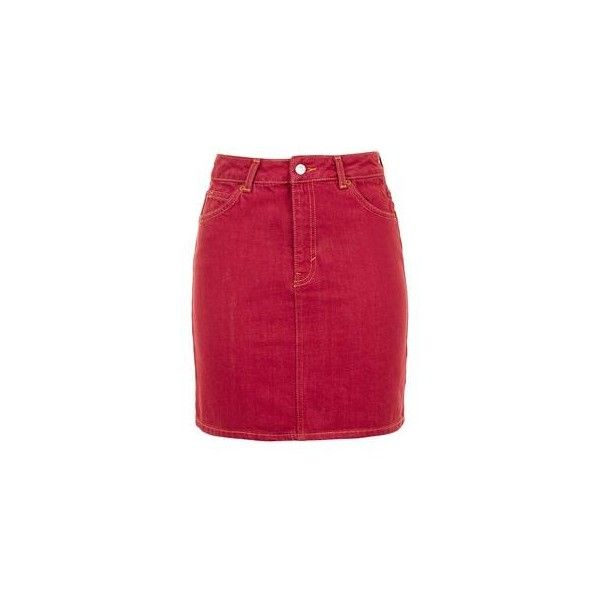 TopShop Moto Red Denim Mini Skirt (£29) via Polyvore featuring ...