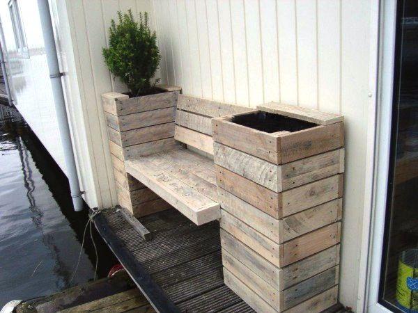 Nieuw plantenbakken-en-bankje-pallethout - Voortuin ideeën XW-76