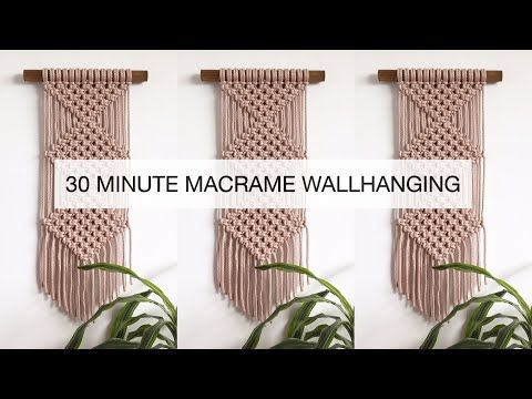 DIY : EASY MACRAME WALLHANGING FOR BEGINNERS | STEP BY STEP MACRAME TUTORIAL | 30 MINUTE WALLHANGING - YouTube