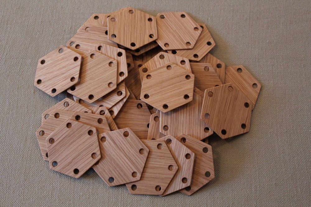 Tablet Weaving Cards 30 Hexagonal Oak 6-sided. Ancient