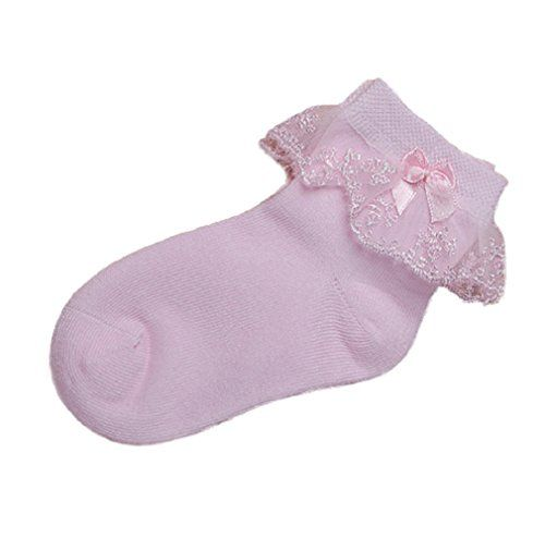 The-Fox 5 Pack Baby-girls Children Bowknot Lace Comfortable Seamless Cotton Socks