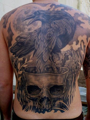 Jared Dale WOW! Raven skull back piece, tattoo