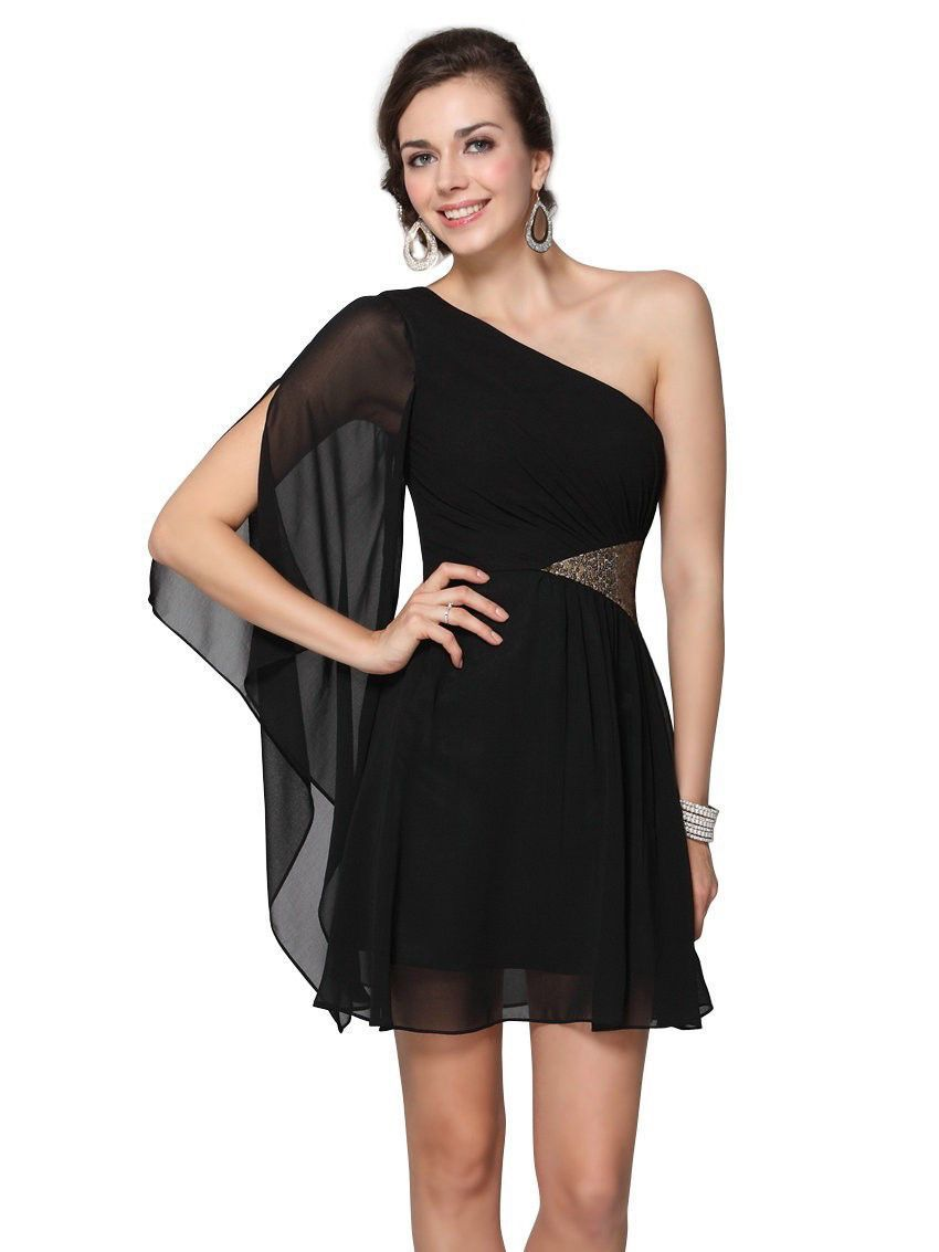 2017 Padded Chiffon Sequins One Shoulder Cocktail Dress Empire