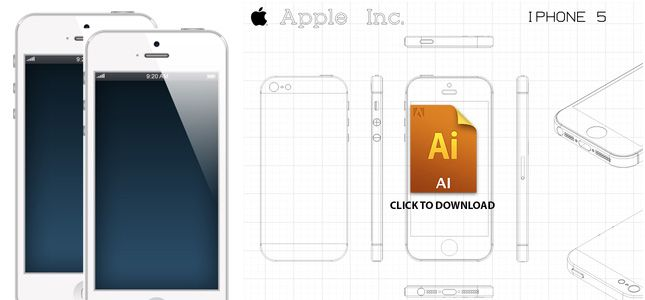 free iphone 5 mockup ai in sketch style - Iphone 5s Mockup Free