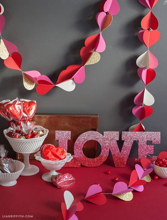 Valentine\'s Day hearts paper garland by Lia Griffith. | Holidays ...