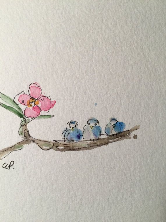 Three Little Birds Watercolor Card Hand Painted Watercolor Card