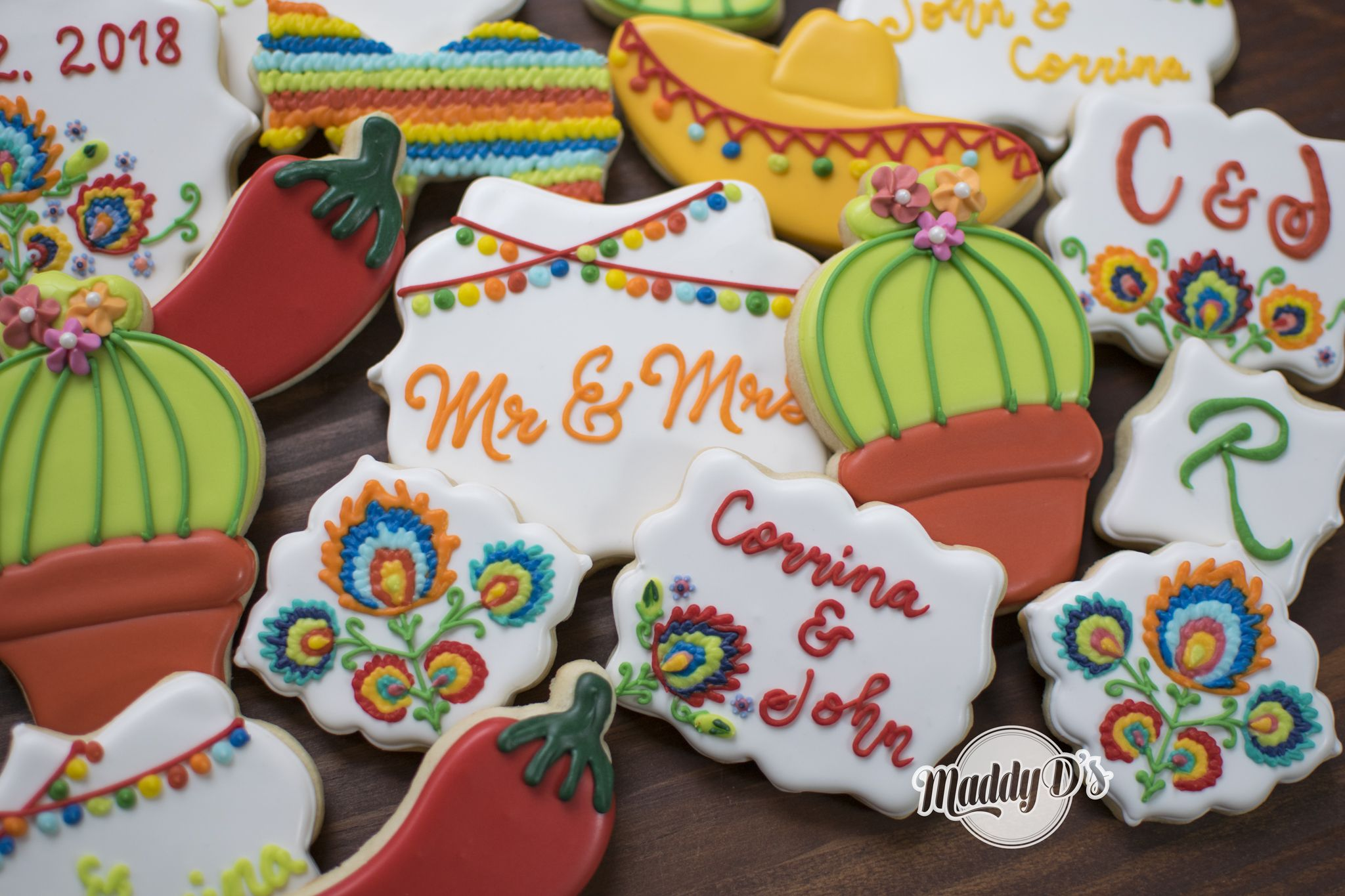 wedding cookies, fiesta wedding cookies, mexican themed wedding ...