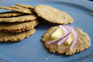 Sesame-Millet Crackers...cook millet first. try with flax egg and skip baking pwd #flaxseedmealrecipes