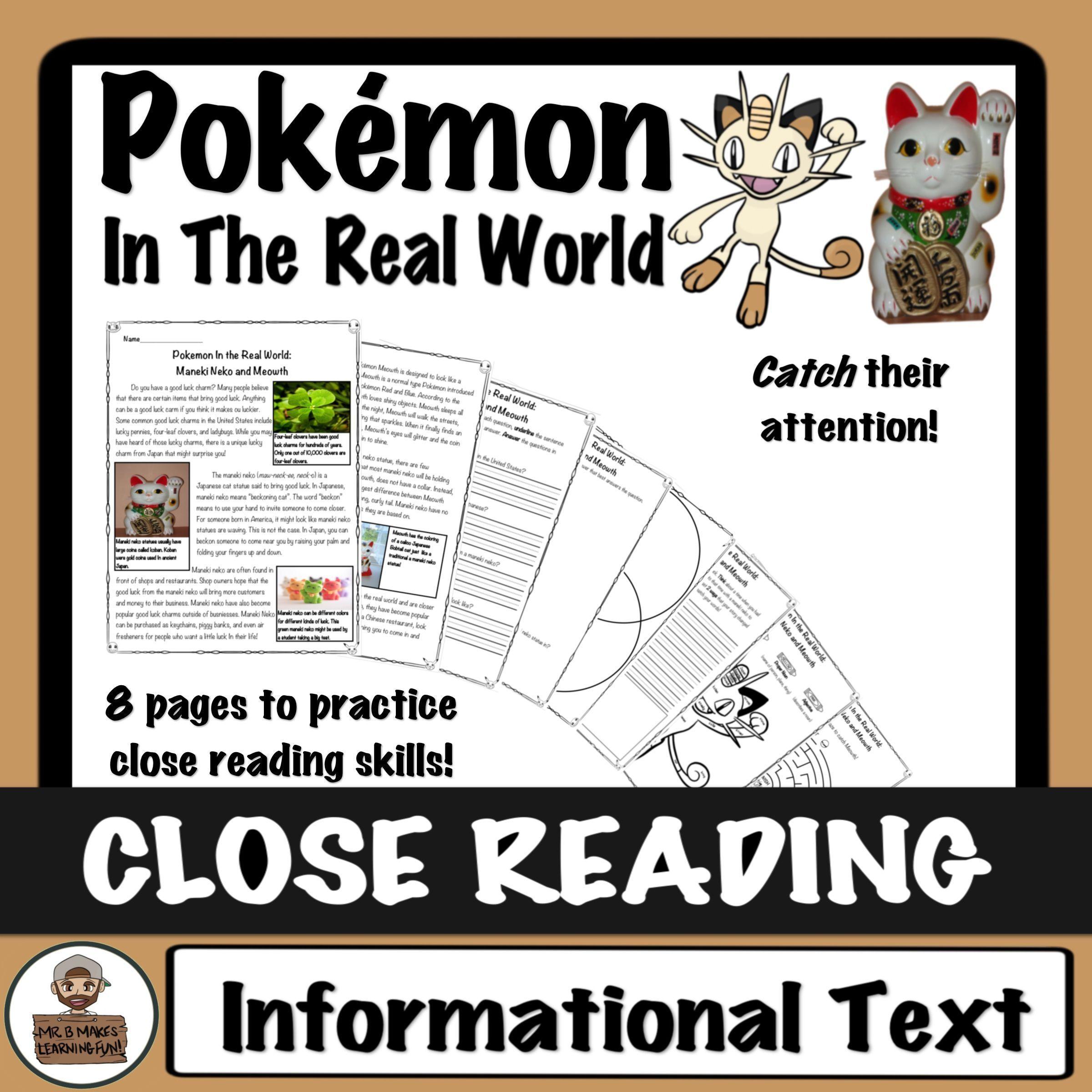Pokemon Close Read And Worksheets Activities Maneki Neko And Meowth Close Reading Reading Skills High Interest Reading Passages [ 2400 x 2400 Pixel ]