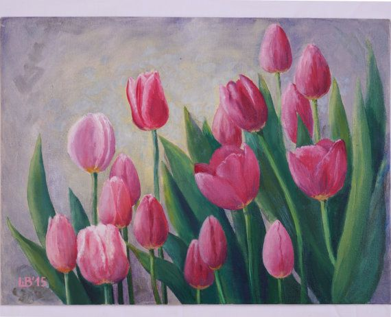 Original oil painting Pink tulips original by KindWhiteCat on Etsy