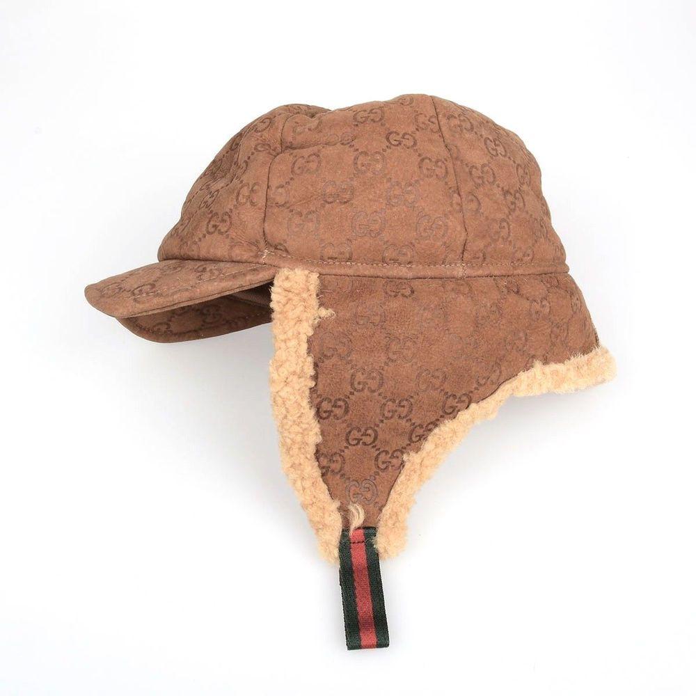 b770663ea GUCCI suede leather shearling fur GG logo monogrammed trapper ear ...