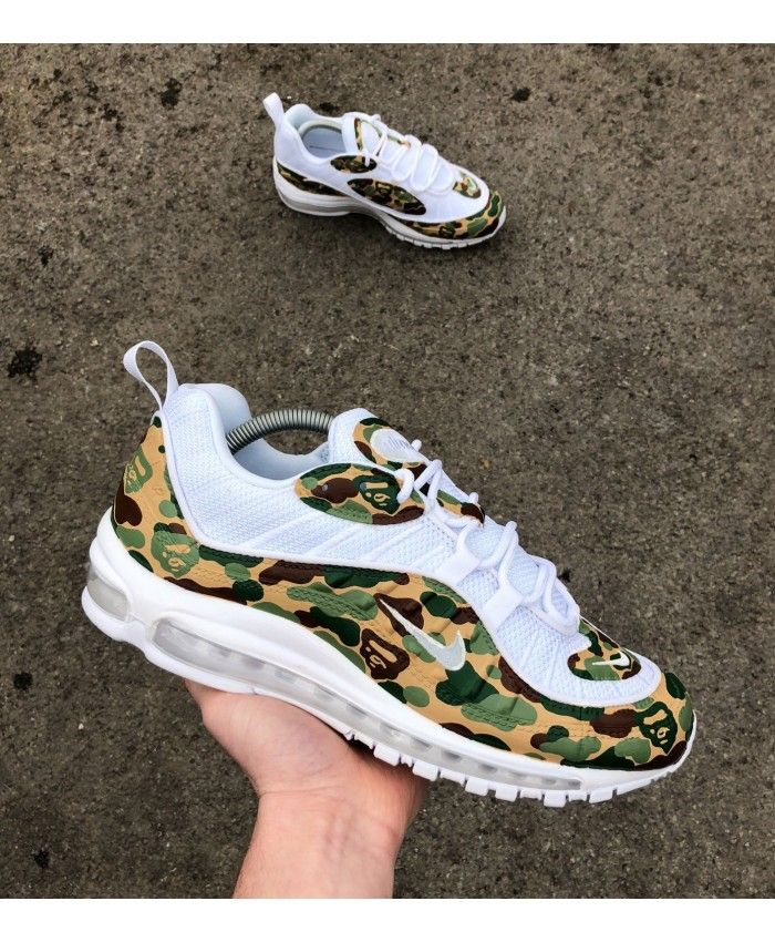Men's Nike Air Max 98 White With Army Bape Camo Trainer,The