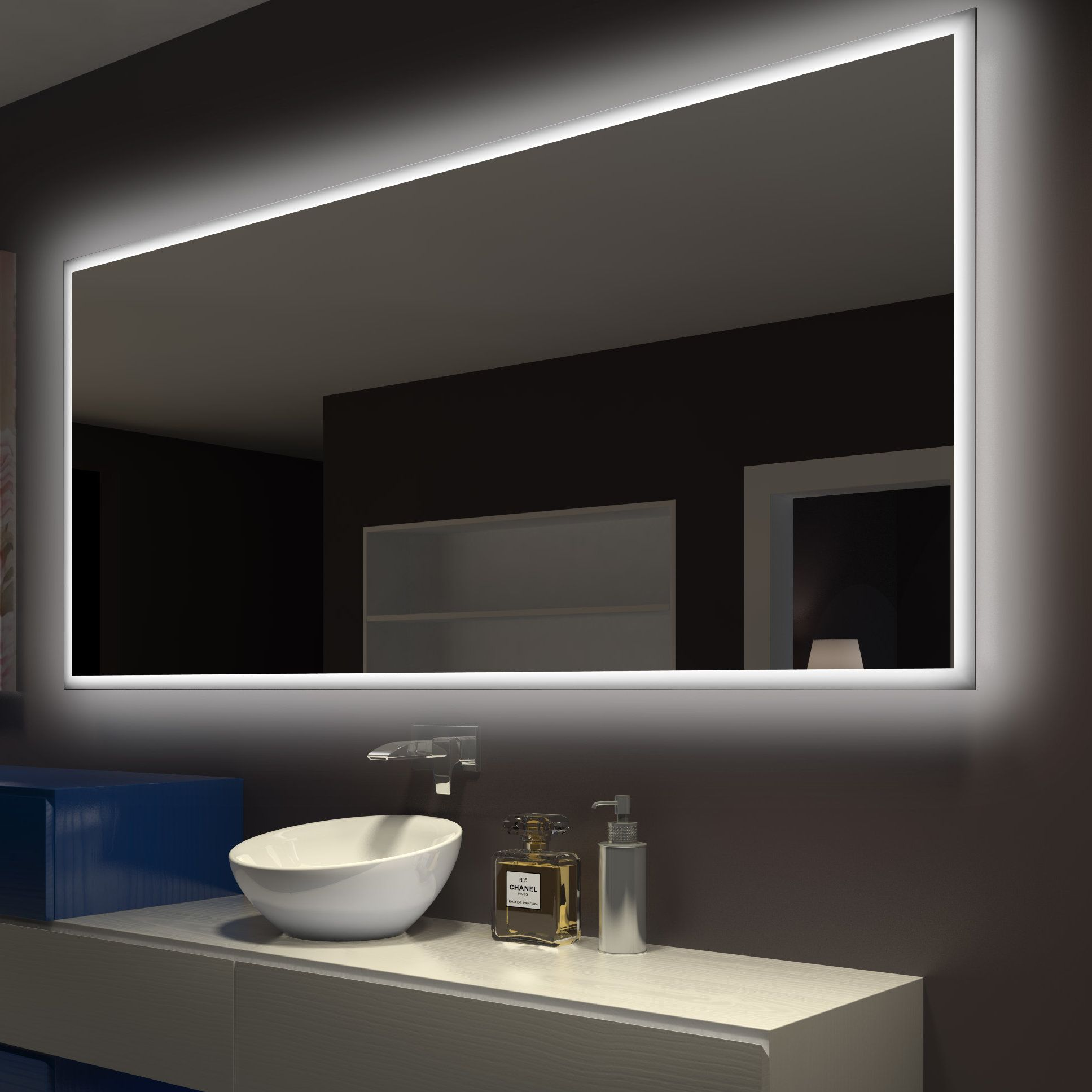Rectangle Backlit BathroomVanity Wall Mirror  Products  Pinterest  Salle de Bain Salle de