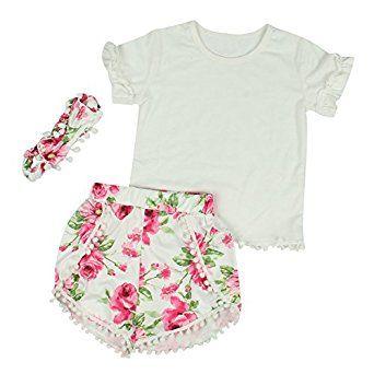 68772507bd8 Amazon.com  Puseky Toddler Girls Tassel Pom Poms T-shirt+Shorts+Headband  Summer Outfits Sets  Clothing
