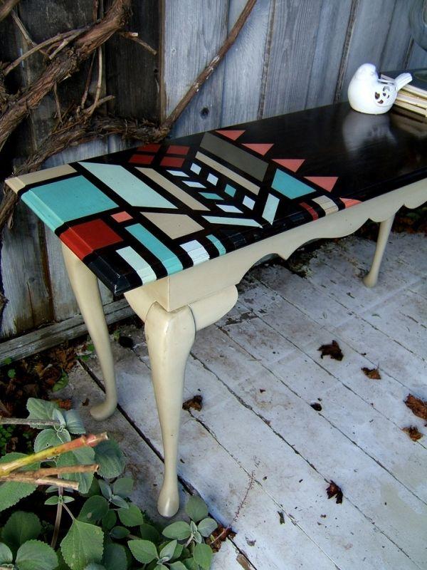 shabby chic tisch neu lackieren streichen muster ausmalen wohnen pinterest lackieren. Black Bedroom Furniture Sets. Home Design Ideas