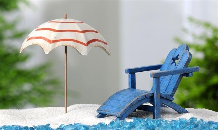 Mini World Garden Seaside Beach Chair Beach Umbrella With