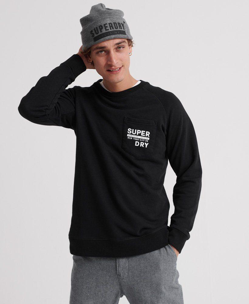 Mens Surplus Goods Graphic Crew Sweatshirt In Jet Black Superdry Long Sleeve Tshirt Men Crew Sweatshirts Sweatshirts [ 1000 x 820 Pixel ]