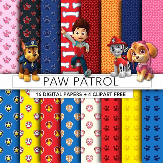 paw patrol digital paper paw patrol paper paw patrol clipart scrapbook background texture. Black Bedroom Furniture Sets. Home Design Ideas