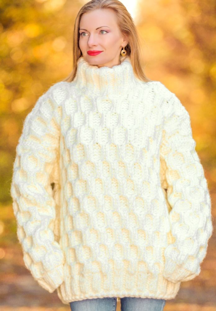 4998a99d6e SUPERTANYA Hand Knitted Mohair Wool Heavy Polo Sweater Thick IVORY Mens  Pullover  SuperTanya  Polo