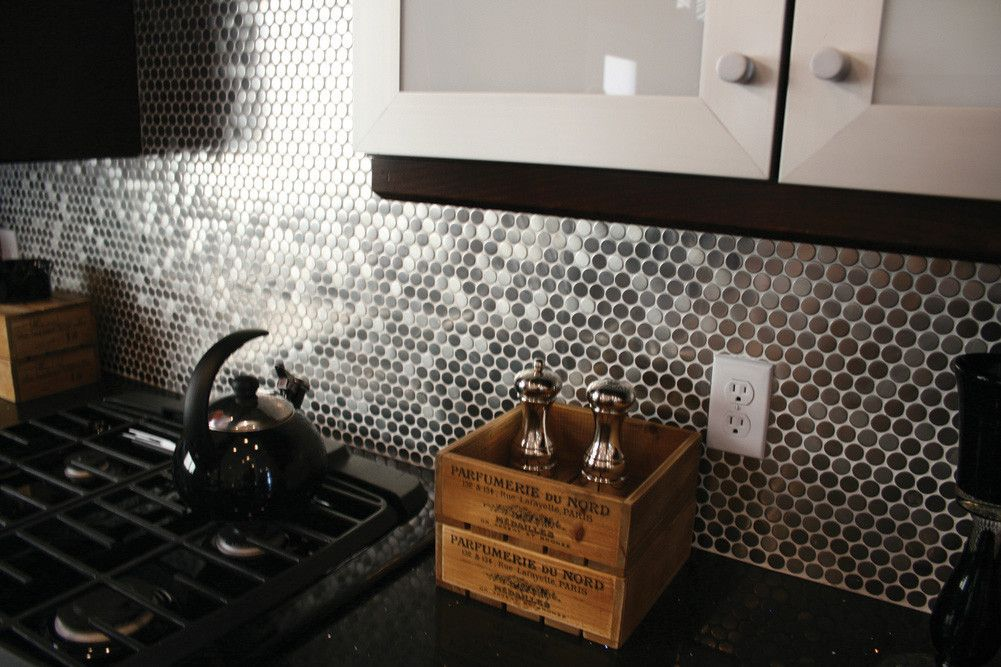 ... Stainless Steel Backsplash. Metallic Penny Tile Google Search Kitchen  Pinterest Penny