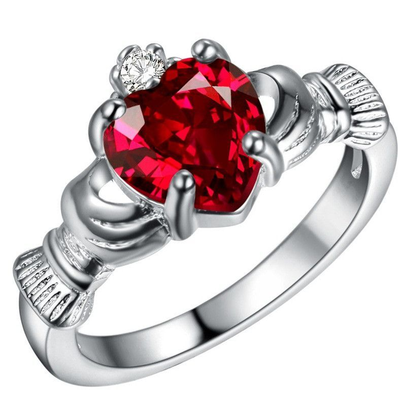 """Silver Plated Crystal Claddagh Ring """"With My Hands I Give"""