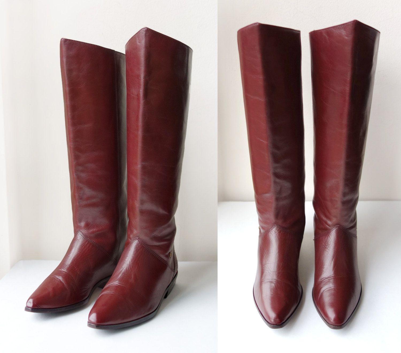 76bec3e08f5 Vintage 80s Etienne Aigner Maroon Red Oxblood Burgundy Bordeaux ...